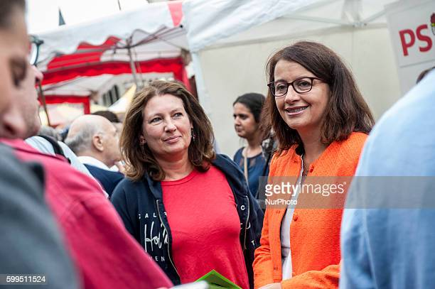 Cécile Duflot MP and candidate for the primary environmentalists for presidential elections in fornt of the EELV in Tourcoing stand northern France...