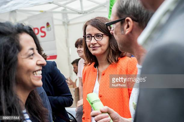 Cécile Duflot MP and candidate for the primary environmentalists for presidential elections in fornt of the stand of EELV in Tourcoing northern...