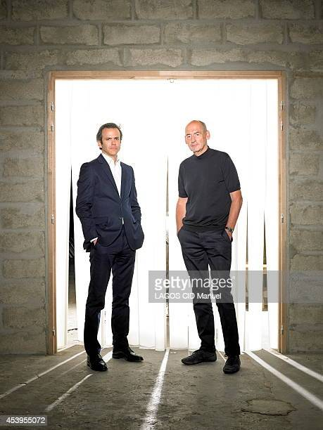 Ccreators of a foundation dedicated to contemporary artist Guillaume Houze and the architect Rem Koolhaas pose on July 02 2014 in Paris France