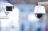3d rendering cctv camera or security camera on retail shop blurred background
