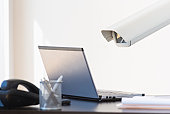 Cctv camera over laptop