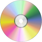 cd or blu-ray disc on white background