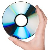 CD isolated in hand on White background