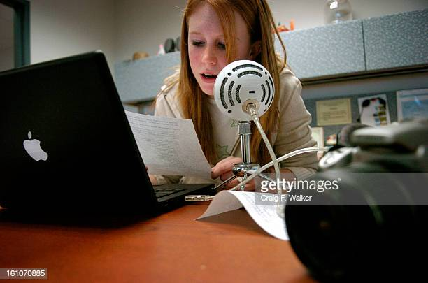cd06SARMAIN_120507_CFW_ Eighthgrader Kenzie King records announcements while producing the schools weekly podcast at Falcon Bluff Middle School in...