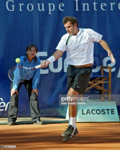 Cédric Pioline in action vs Cedric Pioline during the final of the 2nd Trophéé Jean Luc Lagardere at Jean Bouin Stadium Paris September 18 2005