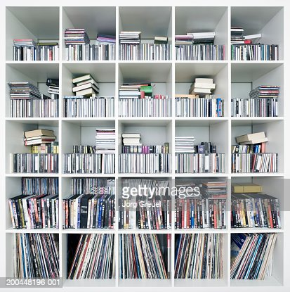 CDs, DVDs and records on shelves