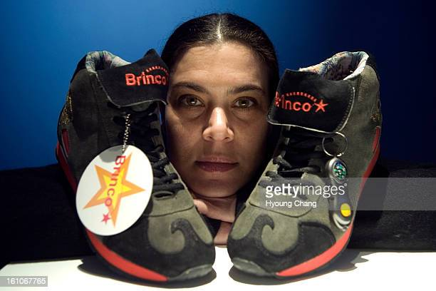 cdxxwarrior Judi Werthein and Brinco special sneakers to ease sneaking over the border are in Museo De Las Americas in Denver on Tuesday New York...