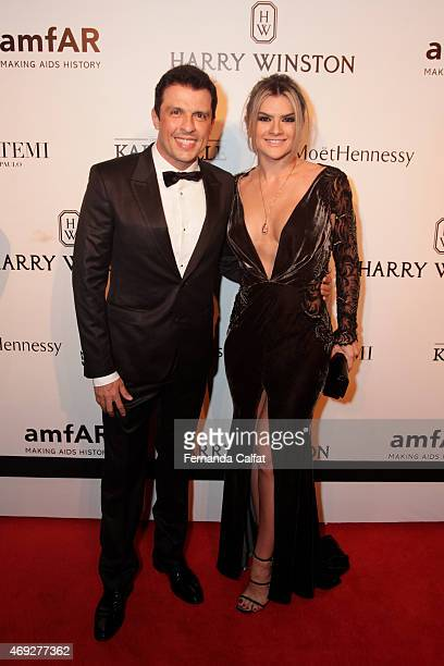 Ceara and Mirella Santos attend the 5th Annual amfAR Inspiration Gala at the home of Dinho Diniz on April 10 2015 in Sao Paulo Brazil