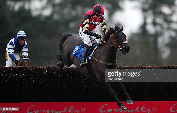 Ceasar Milan ridden by Nick Scholfield clears the last to win The Bathwick Tyres Beginners' Steeple Chase at Exeter Racecourse on January 1 2015 in...