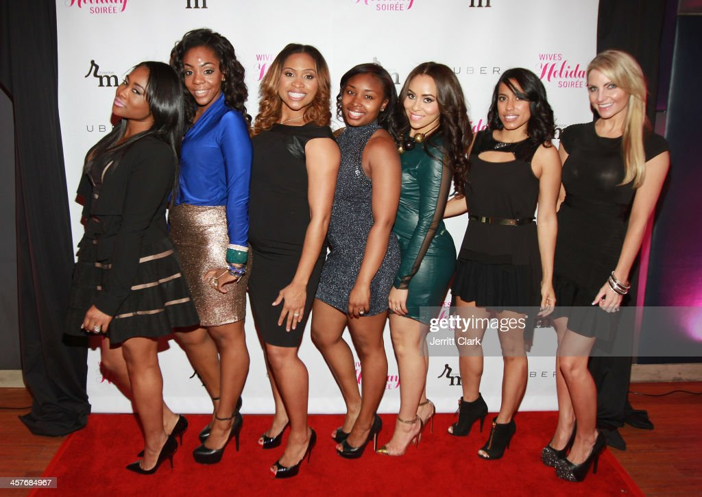 CeCe Chung, Jackie Fletcher, Jamila Ryans, Chamon Jones, Carlyne Williams, Mariel Marte and Julie Dorenbos attend the NBA & NFL Wives Holiday Cocktail Mixer at Pranna Restaurant on December 17, 2013 in New York City.