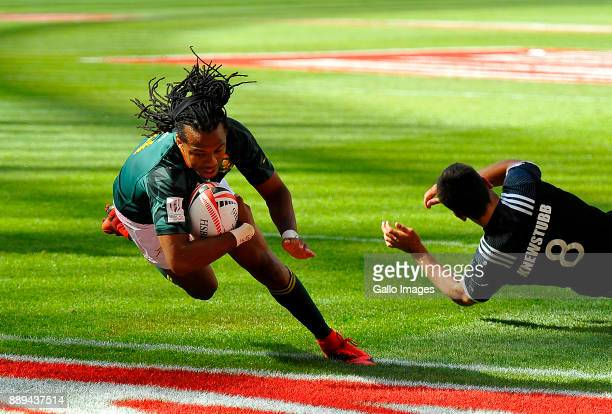 Cecil Afrika of South Africa during day 2 of the 2017 HSBC Cape Town Sevens Semi Final match between South Africa and New Zealand at Cape Town...