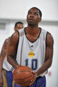 Cecil Brown of the Los Angeles Lakers shoots a free throw against the Detroit Pistons during NBA Summer League on July 9 2010 at Cox Pavilion in Las...