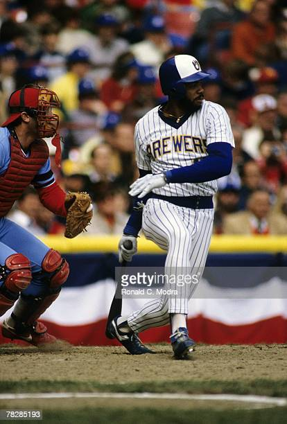 Cecil Cooper of the Milwaukee Brewers batting during Game 4 of the 1982 World Series against the St Louis Cardinals on October 16 1982 in Milwaukee...