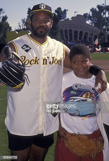 Cecil Fielder and son Prince Fielder attend Fifth Annual MTV Rock N Jock Benefit Baseball Game on January 15 1994 at Blair Field in Long Beach...