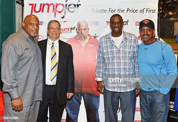Cecil Fielder Mitchell Modell Dwight 'Doc' Gooden and Willie Randolph attend 'Joey Glick' LookALike contest at Modell's Sporting Goods Store on May 9...