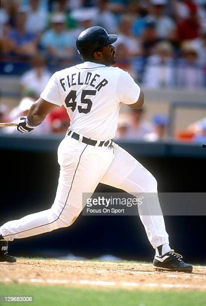 Cecil Fielder of the Detroit Tigers bats during a spring training Major League Baseball game circa 1992 at Joker Marchant Stadium in Lakeland Florida...