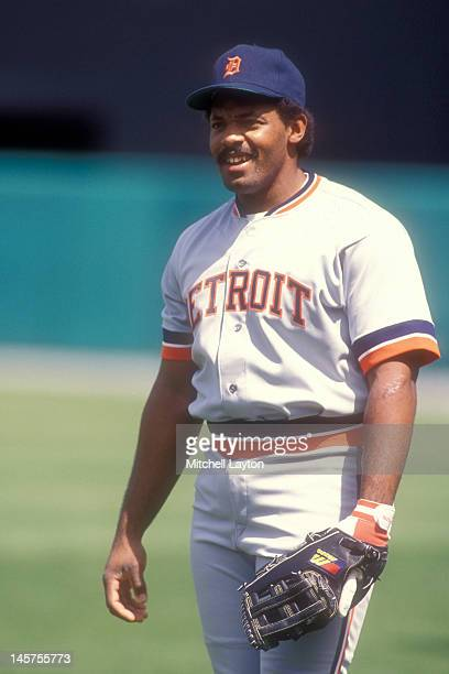 Cecil Fielder of the Detroit Tigers bats looks on during a baseball game against the Baltimore Orioles on April 15 1990 at Memorial Stadium in...
