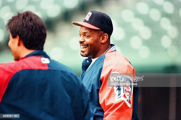 Cecil Fielder of the Detroit Tigers looks on against the Cleveland Indians at Comerica Park on May 16 1996 in Detroit Michigan