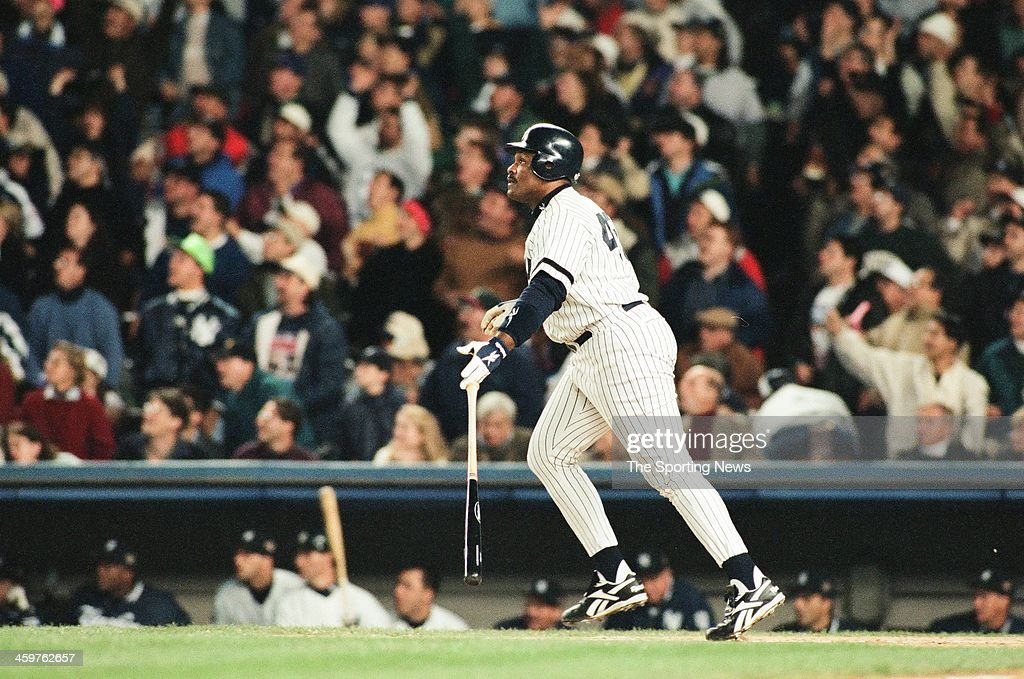 <a gi-track='captionPersonalityLinkClicked' href=/galleries/search?phrase=Cecil+Fielder&family=editorial&specificpeople=220765 ng-click='$event.stopPropagation()'>Cecil Fielder</a> of the New York Yankees bats during Game One of the World Series against the Atlanta Braves on October 20, 1996 at Yankee Stadium in Bronx, New York.