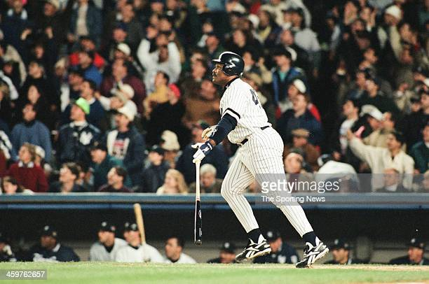 Cecil Fielder of the New York Yankees bats during Game One of the World Series against the Atlanta Braves on October 20 1996 at Yankee Stadium in...