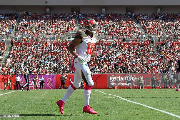 Cecil Shorts III of the Bucs trots back to the Bucs sideline during the NFL game between the Oakland Raiders and Tampa Bay Buccaneers on October 30...