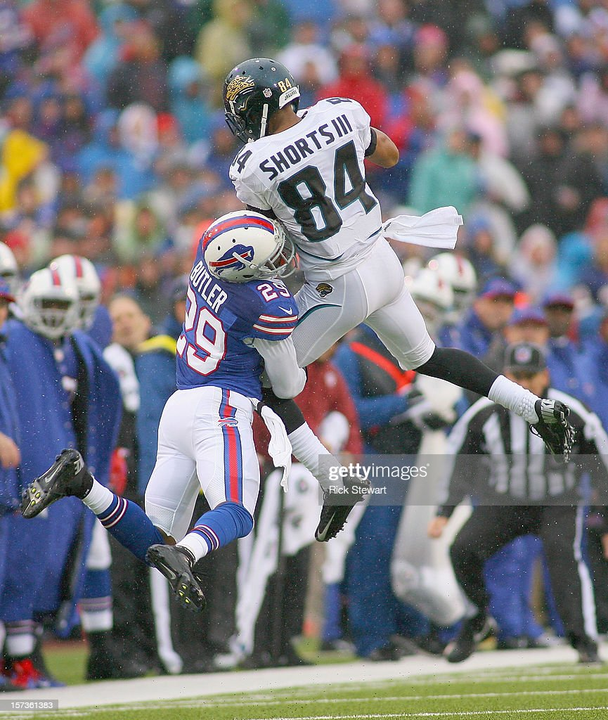 Cecil Shorts #84 of the Jacksonville Jaguars makes a catch against Crezdon Butler #29 of the Buffalo Bills at Ralph Wilson Stadium on December 2, 2012 in Orchard Park, New York. Brooks was called for interference on the play.