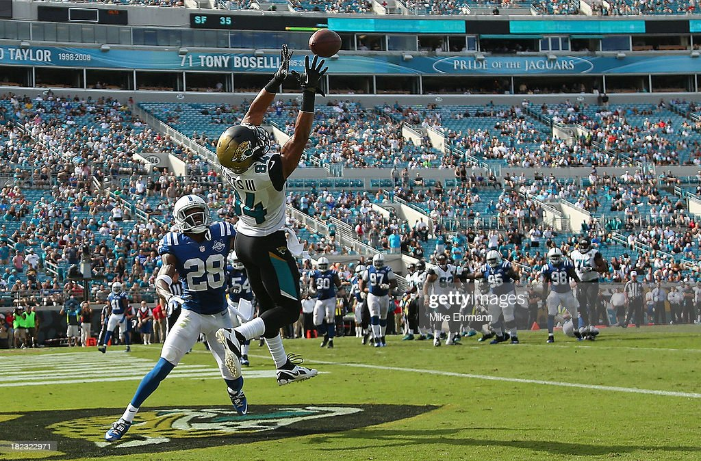 <a gi-track='captionPersonalityLinkClicked' href=/galleries/search?phrase=Cecil+Shorts&family=editorial&specificpeople=6820244 ng-click='$event.stopPropagation()'>Cecil Shorts</a> #84 of the Jacksonville Jaguars misses a pass against <a gi-track='captionPersonalityLinkClicked' href=/galleries/search?phrase=Greg+Toler&family=editorial&specificpeople=5838089 ng-click='$event.stopPropagation()'>Greg Toler</a> #28 of the Indianapolis Colts during a game at EverBank Field on September 29, 2013 in Jacksonville, Florida.