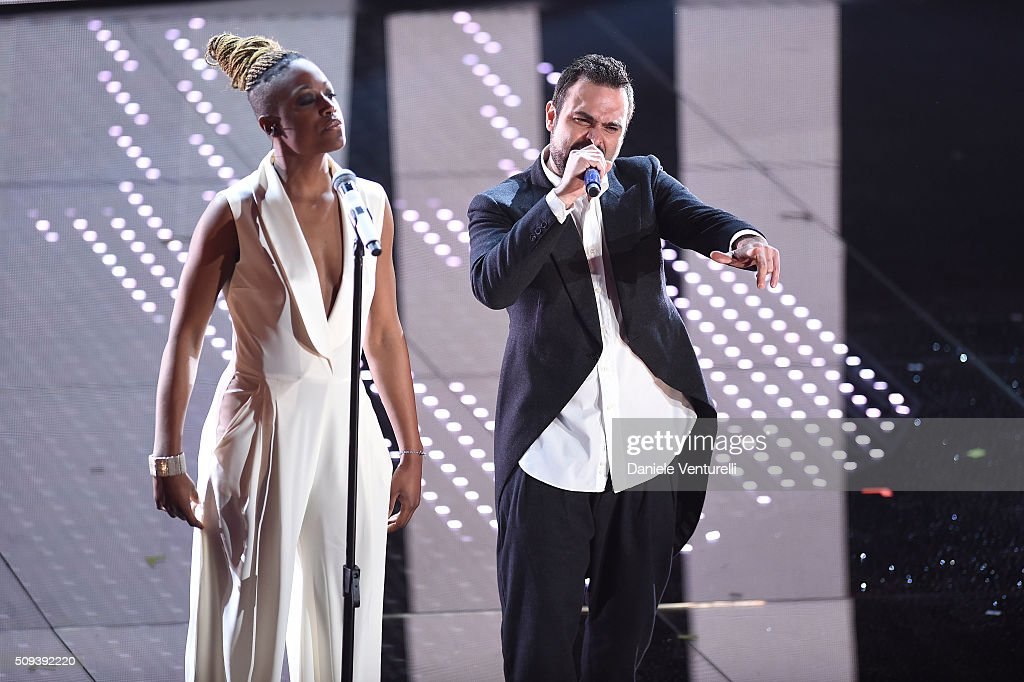 Cecile and singer attend second night of the 66th Festival di Sanremo 2016 at Teatro Ariston on February 10, 2016 in Sanremo, Italy.