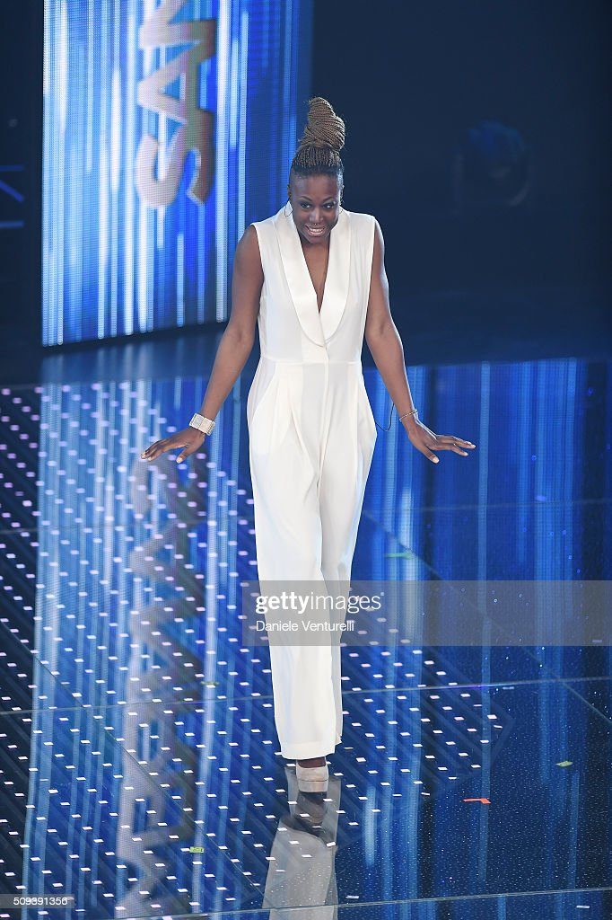 Cecile attends second night of the 66th Festival di Sanremo 2016 at Teatro Ariston on February 10, 2016 in Sanremo, Italy.