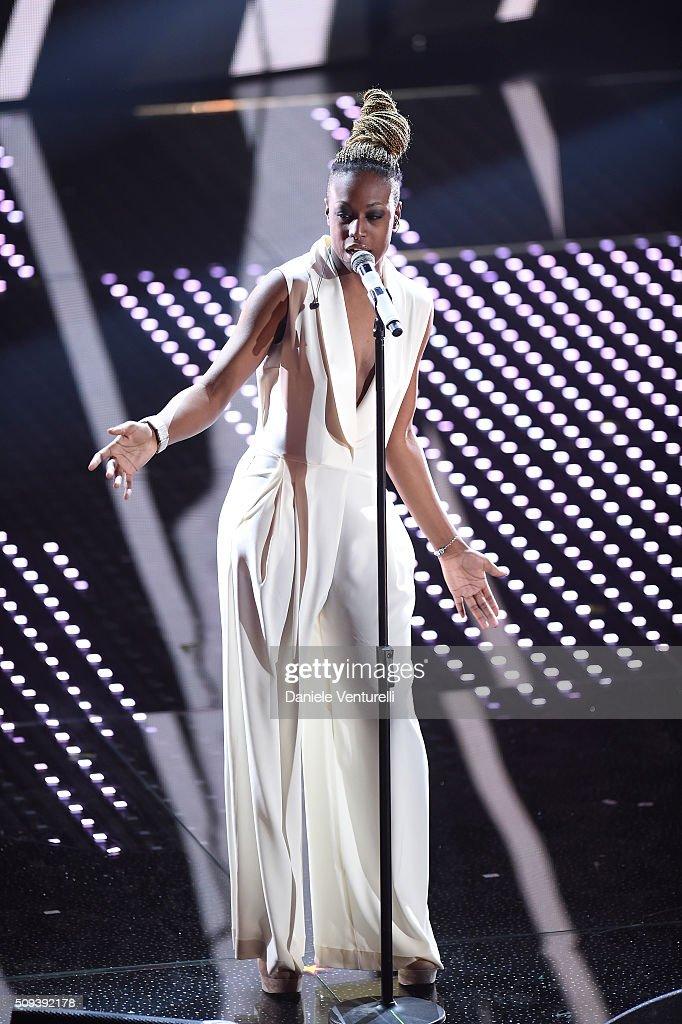 Cecile attends second night of the 66th Festival di Sanremo 2016 at Teatro Ariston on February 10, 2016 in Sanremo, Italy.