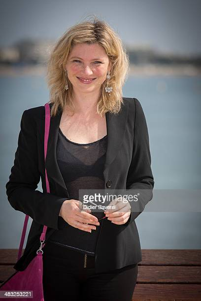 Cecile Bois poses during the photocall of 'Candice Renoir' at MIPTV 2014 at Hotel Majestic on April 7 2014 in Cannes France