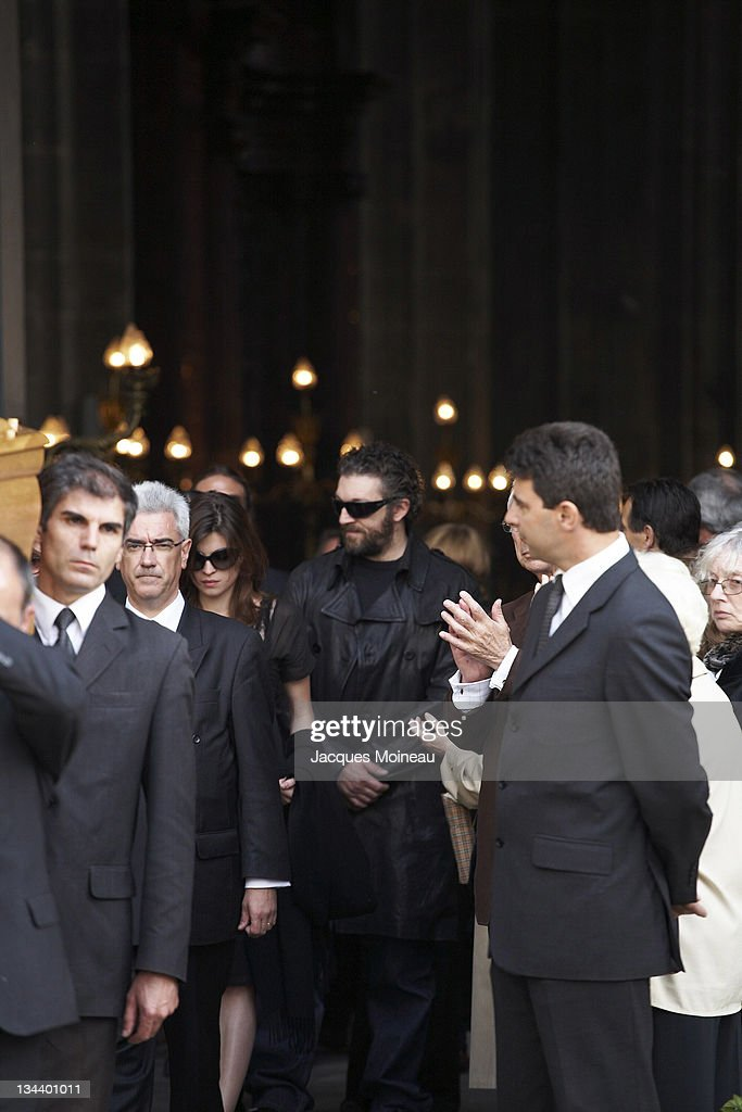 Cecile Cassel and Vincent Cassel during JeanPierre Cassel Funeral at St Eustache Church of Paris in Paris France