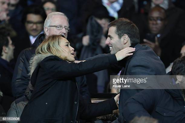 Cecile de Menibus and Gonzalo Quesada attend the French League Cup match between Paris SaintGermain and FC Metz at Parc des Princes on January 11...