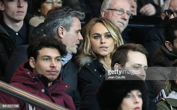 Cecile de Menibus and Thierry attend the French League Cup match between Paris SaintGermain and FC Metz at Parc des Princes stadium on January 11...