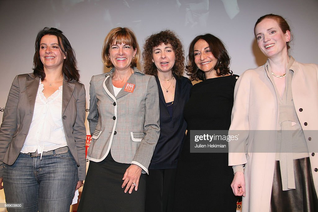 Cecile Duflot, Anne Lauvergeon, Valerie Toranian, Nathalie Rykiel and Nathalie Kosciusko-Morizet pose on the last day of the Women's Forum at French Political Sciences Institute in Paris on May 07, 2010. The meeting that gathers business women, political leaders and artists is organized by French weekly magazine ELLE.