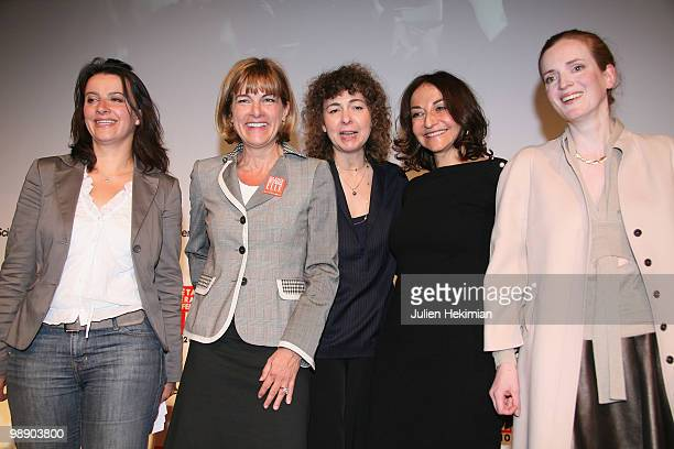 Cecile Duflot Anne Lauvergeon Valerie Toranian Nathalie Rykiel and Nathalie KosciuskoMorizet pose on the last day of the Women's Forum at French...