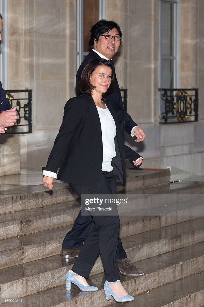 Cecile Duflot leaves the 'legion d'honneur' medal ceremony at Elysee Palace on September 17, 2013 in Paris, France.