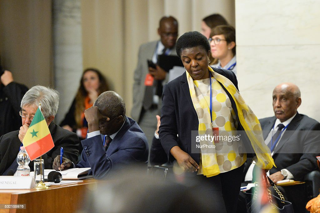 Cecile Kyenge during first Italy-Africa Ministerial Conference at Rome Ministry of Foreign Affairs and International Cooperation on May 18, 2016
