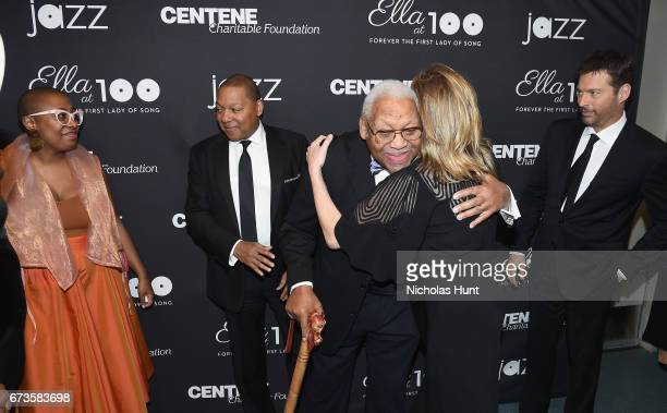 Cecile McLorin Salvant Wynton Marsalis Ellis Marsalis Diana Krall and Harry Connick Jr attend the Jazz at Lincoln Center 2017 Gala 'Ella at 100...