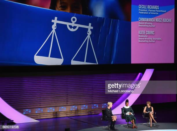 Cecile Richards Chimamanda Ngozi Adichie Katie Couric speaks at the Eighth Annual Women In The World Summit at Lincoln Center for the Performing Arts...