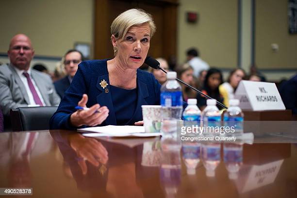 Cecile Richards President of Planned Parenthood Federation of America speaks while testifying to the House Oversight and Government Reform Committee...
