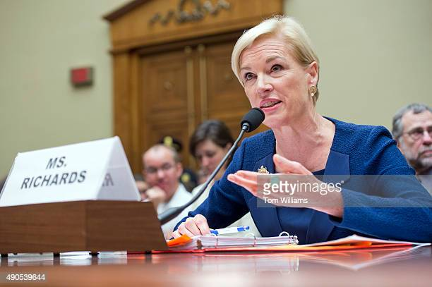 Cecile Richards President of Planned Parenthood Federation of America testifies during a House Oversight and Government Reform Committee hearing in...