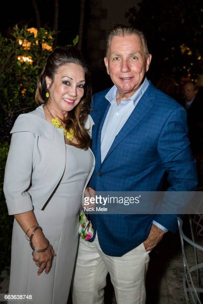 Cecile Skala and Donald Skala attend Sharon Bush Hosts Benefit Dinner for Cristo Rey Brooklyn High School at Private Residence on April 1 2017 in...