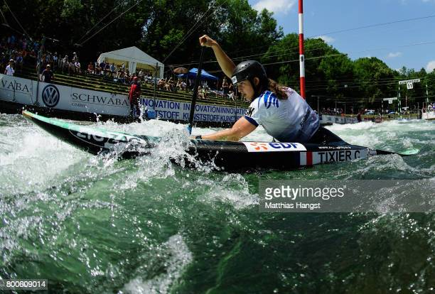 Cecile Tixier of France competes during the Canoe Single Women's Final of the ICF Canoe Slalom World Cup on June 24 2017 in Augsburg Germany