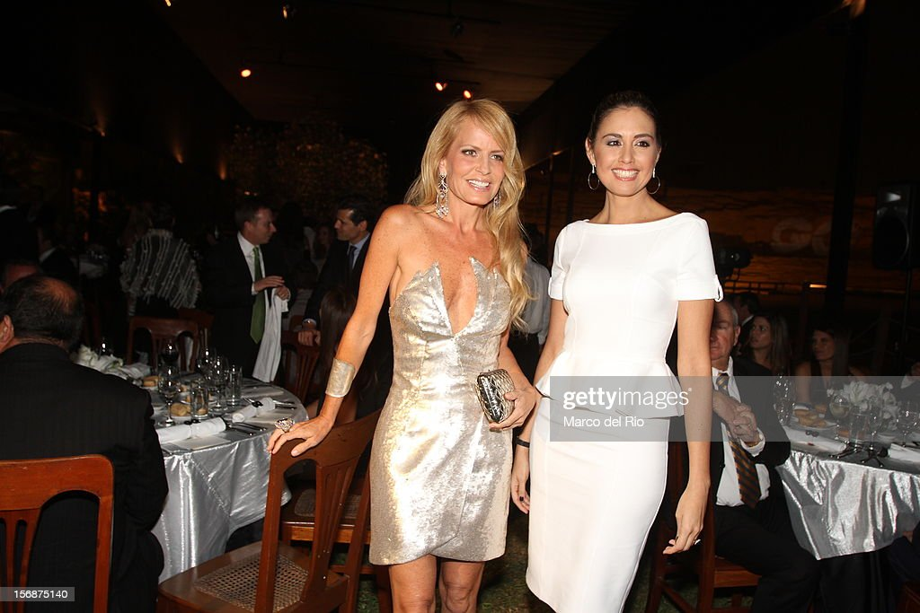 Cecilia Bolocco and Jessica Tapia pose during the awards ceremony GQ Men of the Year 2012 at La Huaca Pucllana on November 23, 2012 in Lima, Peru.