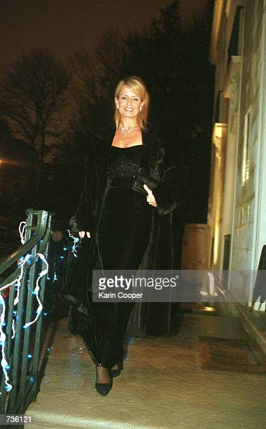 Cecilia Bolocco girlfriend of former Argentine President Carlos Menem leaves the Embassy of Ecuador in Washington DC following a party she attended...