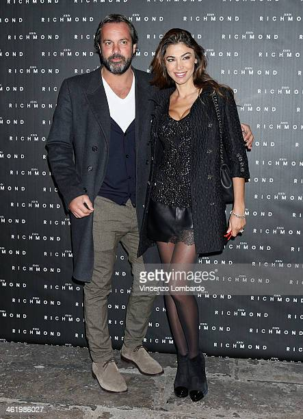 Cecilia Capriotti and guest attend the Richmond show as a part of Milan Fashion Week Menswear Autumn/Winter 2014 on January 12 2014 in Milan Italy