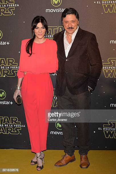Cecilia Gessa and Carlos Bardem attend the 'Star Wars The Force Awakens' premiere at the Callao cinema on December 16 2015 in Madrid Spain