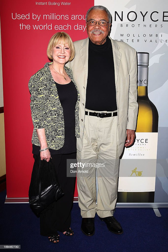 Cecilia Hart and <a gi-track='captionPersonalityLinkClicked' href=/galleries/search?phrase=James+Earl+Jones&family=editorial&specificpeople=206328 ng-click='$event.stopPropagation()'>James Earl Jones</a> walk the red carpet at the 2012 Sydney Theatre Awards at the Paddington RSL on January 14, 2013 in Sydney, Australia.