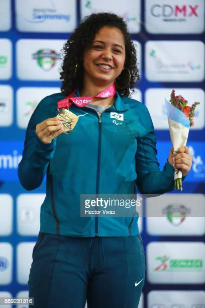 Cecilia Jeronimo of Brazil Gold Medal poses in women's 50 m Freestyle S8 celebration during day 7 of the Para Swimming World Championship Mexico City...